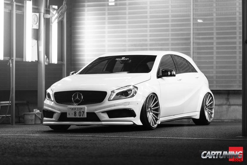 stanced mercedes benz a45 amg w176. Black Bedroom Furniture Sets. Home Design Ideas