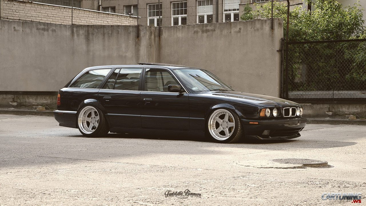 Stanced Bmw 525i Touring E34 Cartuning Best Car Tuning Photos From All The World