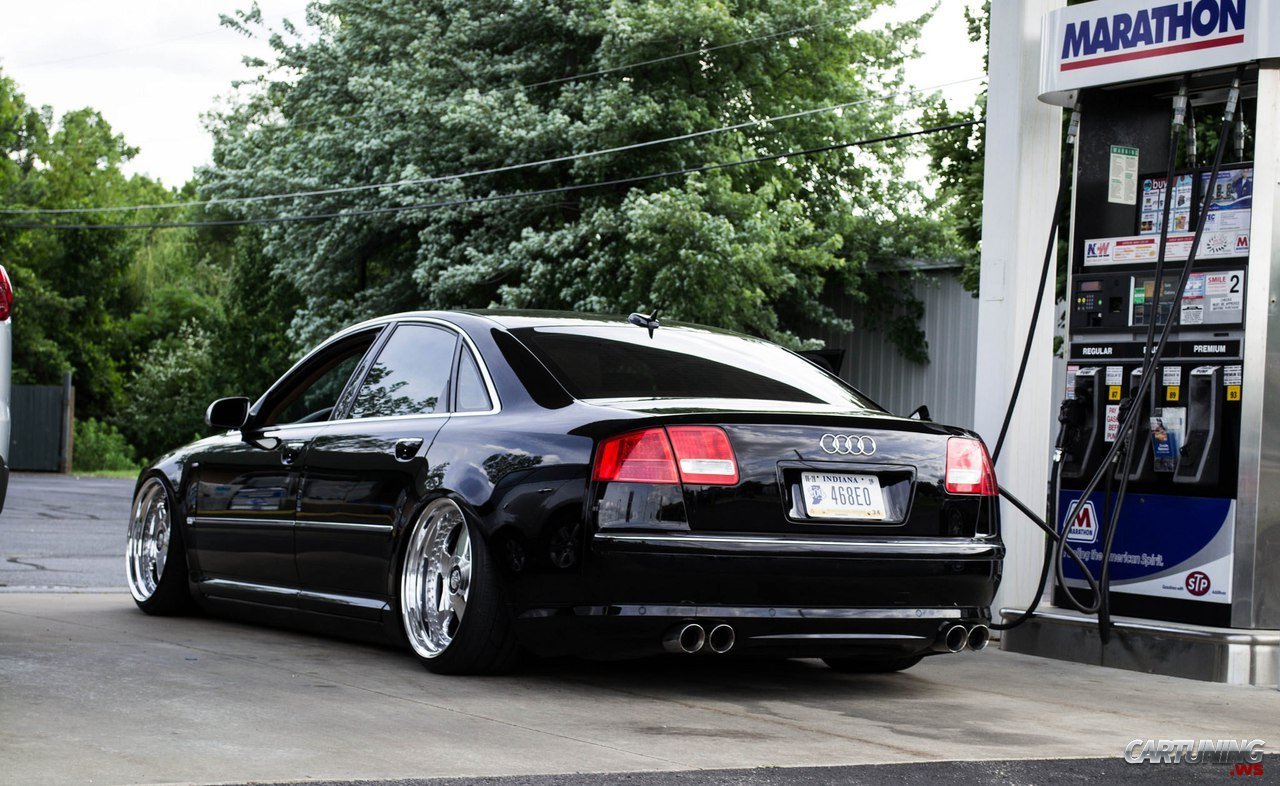 stanced audi a8 d3 2010 rear. Black Bedroom Furniture Sets. Home Design Ideas