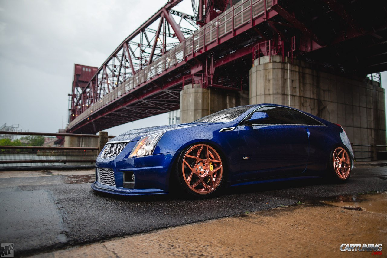 stanced cadillac cts  coupe side